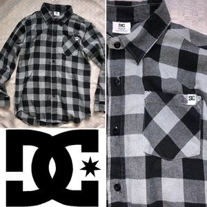DC - Boys Black and Grey Plaid Button Up Flannel